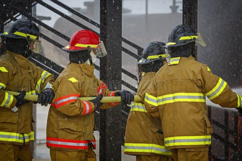 Проект в реальном маштабе времени огневой подготовки на школе огня стоковое фото