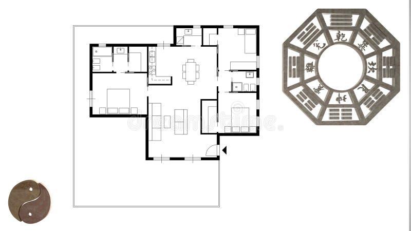 Проект дизайна интерьера с консультированием shui feng, планом домашней квартиры плоским, взглядом сверху с bagua и символом Дао, иллюстрация штока