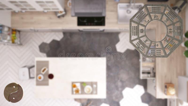 Проект дизайна интерьера с консультированием shui feng, планом кухни, взглядом сверху с bagua и символом Дао, yin и полярностью y бесплатная иллюстрация