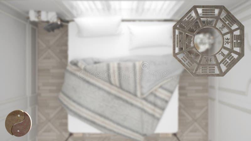Проект дизайна интерьера с консультированием shui feng, планом спальни, взглядом сверху с bagua и символом Дао, yin и полярностью бесплатная иллюстрация