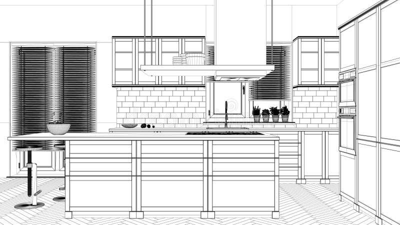 Проект дизайна интерьера, черно-белый эскиз чернил, светокопия архитектуры показывая современную кухню бесплатная иллюстрация