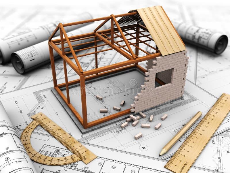 Проект дома иллюстрация вектора