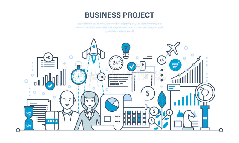 Проект дела, управление, контроль времени, маркетинг, статистик, анализ, контроль данных бесплатная иллюстрация