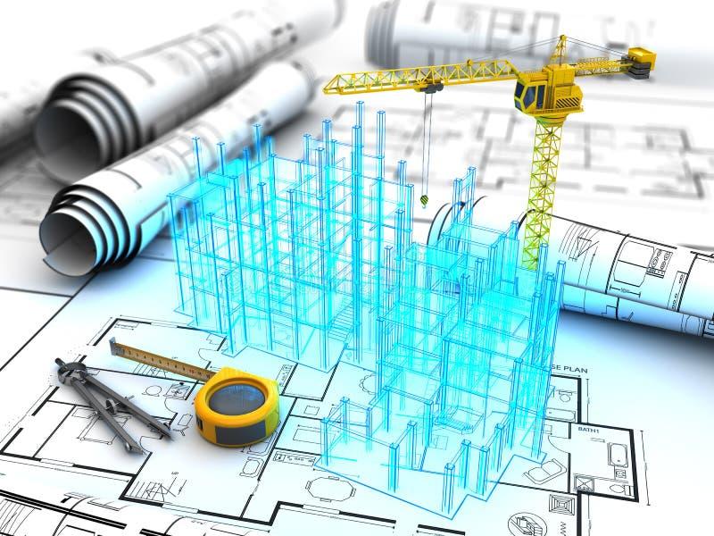 Проект здания иллюстрация вектора