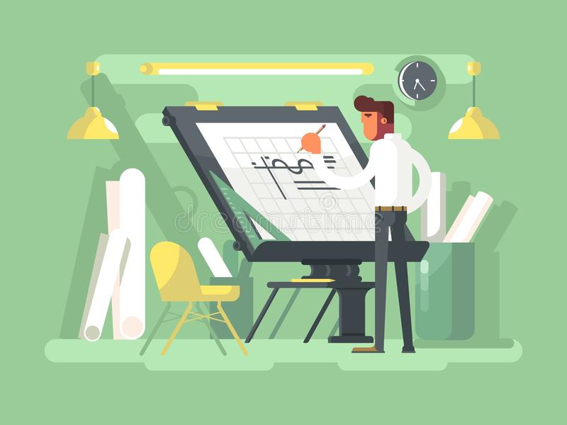 Проект инженера рисует иллюстрация вектора