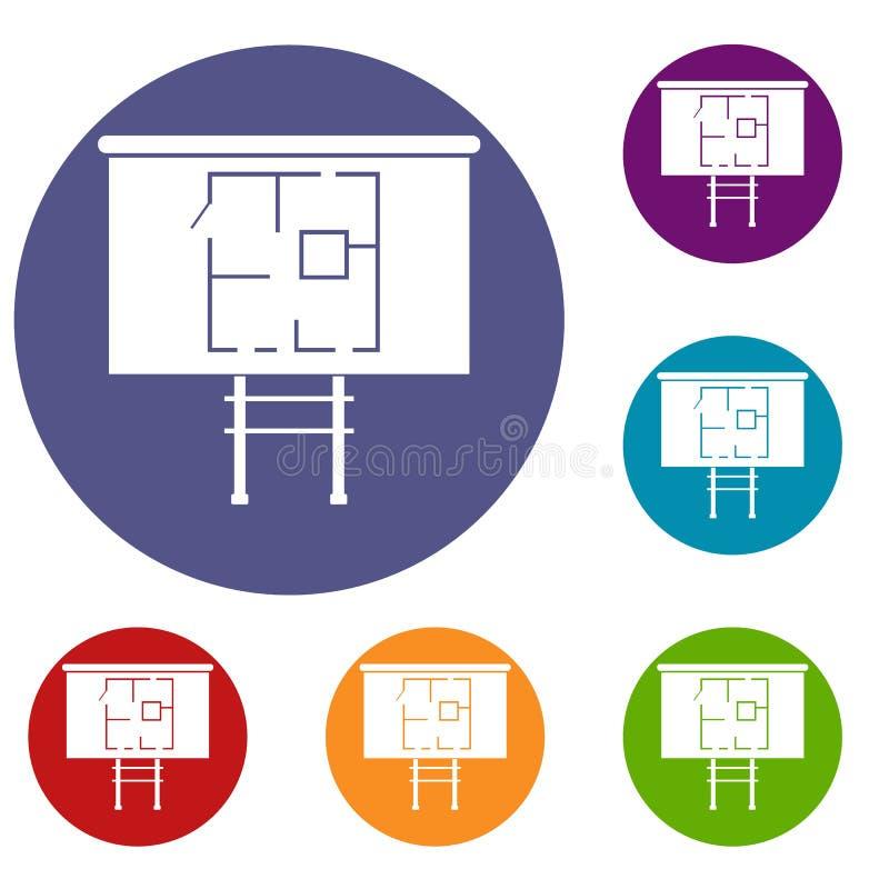 Проект дома на установленных значках доски бесплатная иллюстрация
