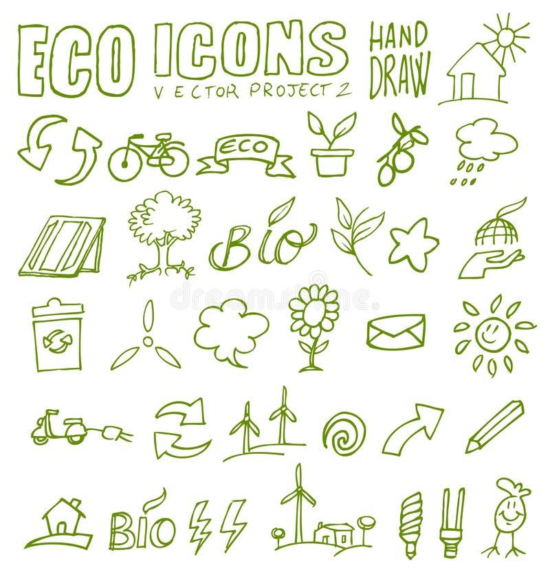 Притяжка 2 руки икон Eco бесплатная иллюстрация