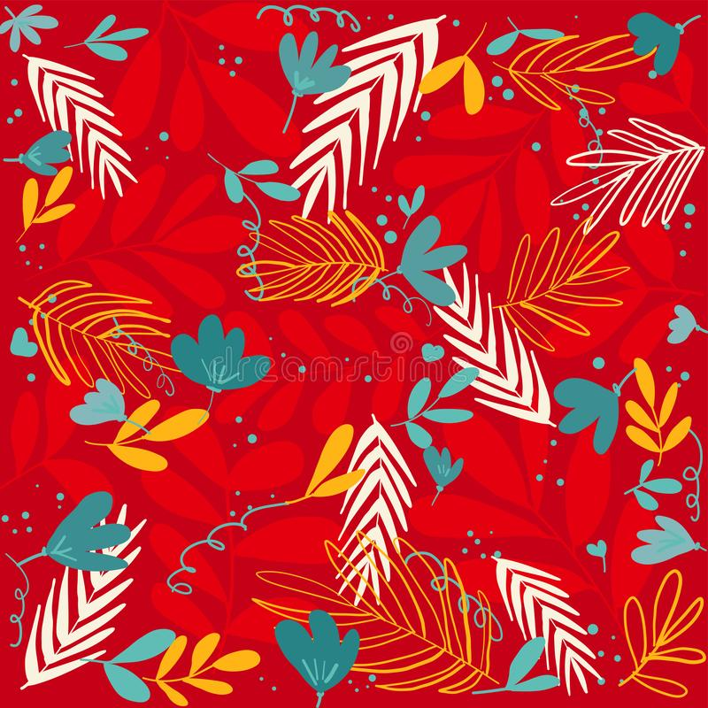 Tropical leaves hand drawn floral vector red background. Seamless pattern royalty free illustration