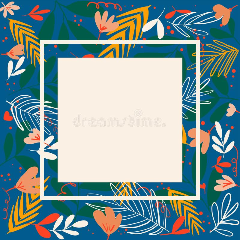 Hand drawn tropical floral frames for banner and cards vector background. Hand drawn tropical floral frames for banner and cards vector backgroun royalty free stock images