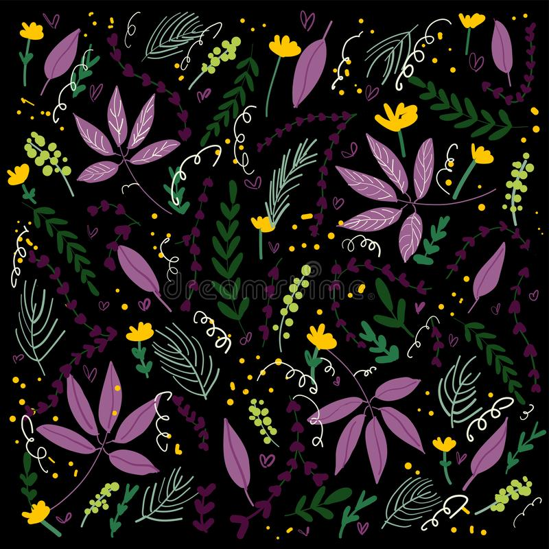 Hand drawn tropical floral vector black background. Hand drawn floral vector background naive style on black background royalty free illustration