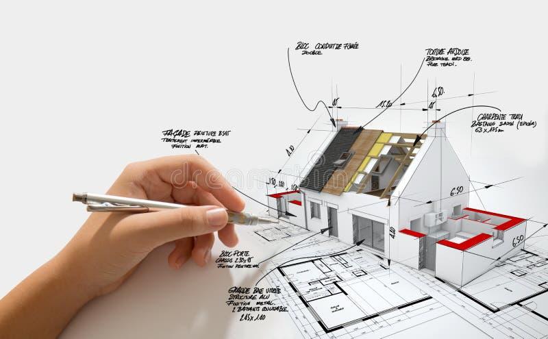 Проект строительства дома продолжается стоковое изображение