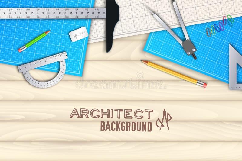 Проект таблицы архитектора деревянный с профессиональной концепцией предпосылки оборудования Дизайн иллюстрации вектора бесплатная иллюстрация