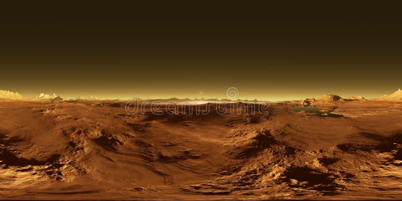 Проекция 360 Equirectangular титана, самой большой луны Сатурна с атмосферой, картой окружающей среды HDRI панорама сферически иллюстрация вектора