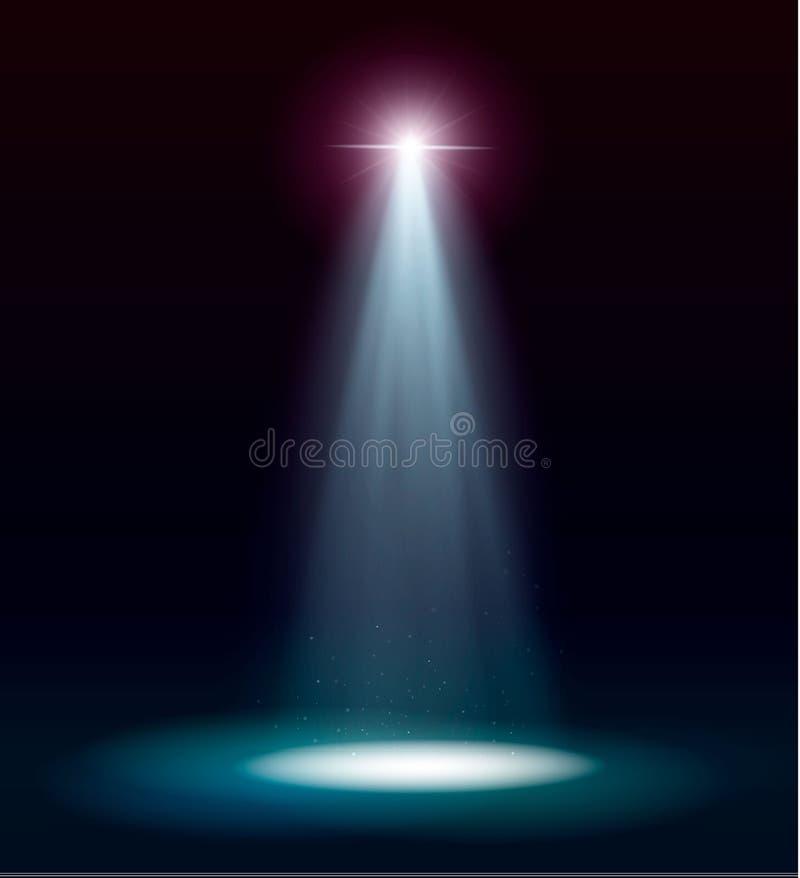 Прожекторы вектора место производит эффект большое светлое представление партии подиум на прозрачной предпосылке иллюстрация вектора