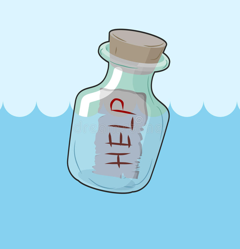 Прозрачная бутылка с помощью текста на песке Стеклянный сосуд при сообщение выданное на seashore Последние слова погибать иллюстрация вектора