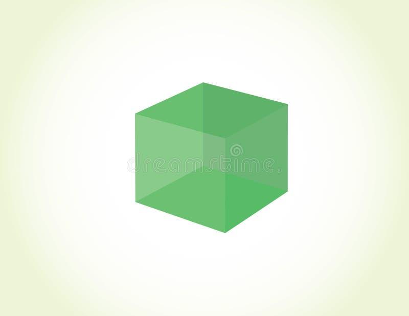 Прозрачная зеленая коробка куба на светлой предпосылке для вектора логотипа иллюстрация вектора