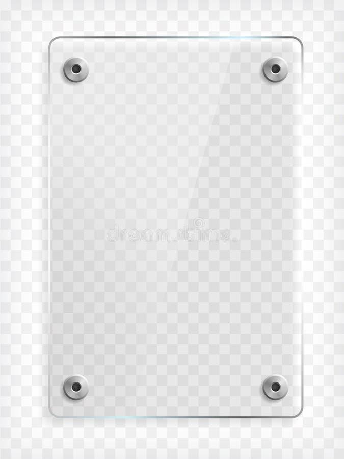 Прозрачная насмешка стеклянной пластинки вверх иллюстрация вектора