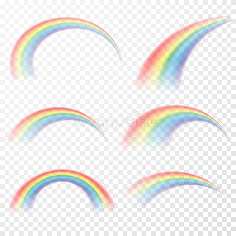 Прозрачная радуга также вектор иллюстрации притяжки corel Реалистическое raibow на прозрачной предпосылке иллюстрация вектора
