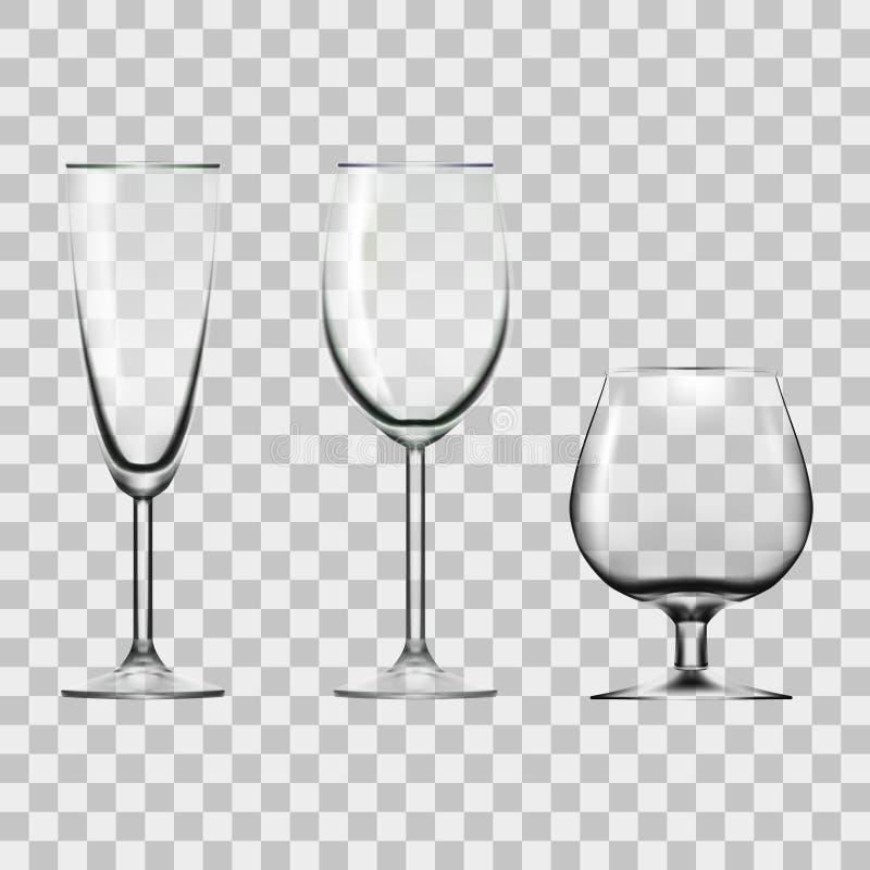 Прозрачное пустое вино, Шампань и стекло коньяка изолированное на белизне бесплатная иллюстрация