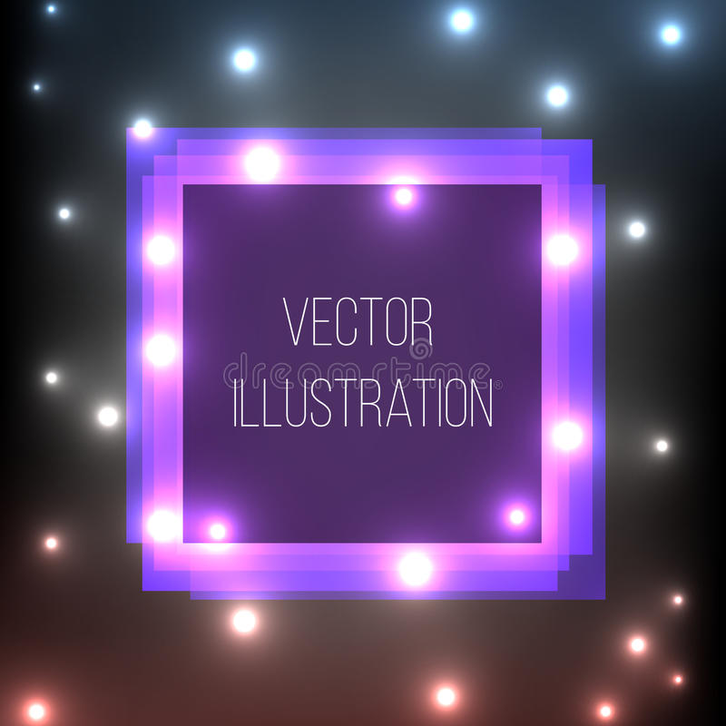 Прозрачное фиолетовое, голубое, черное, квадратное знамя Абстрактный накаляя объем Яркий световой эффект Рамка шаблона неоновая с бесплатная иллюстрация