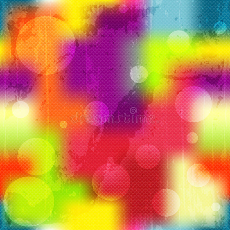 Прозрачные круги на покрашенной предпосылке яркой текстуры grunge предпосылки безшовной иллюстрация штока