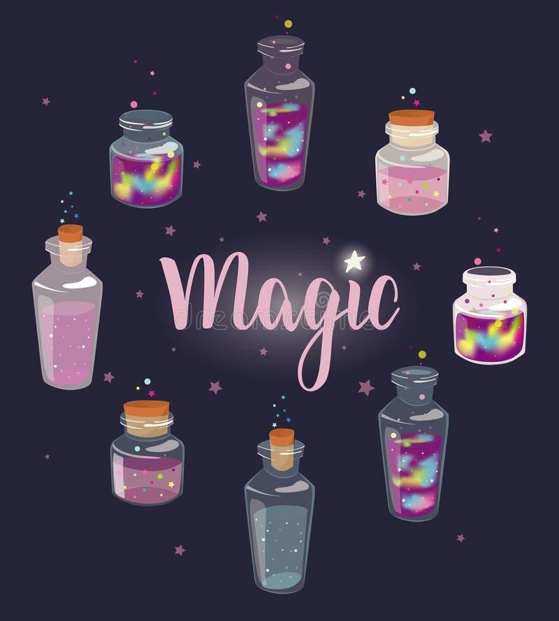 Прозрачные стеклянные бутылки установили с жидкостной жидкостью космоса и волшебства бесплатная иллюстрация
