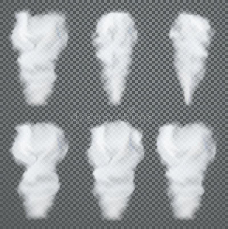 Прозрачный белый дым, вектор установил на темную предпосылку бесплатная иллюстрация