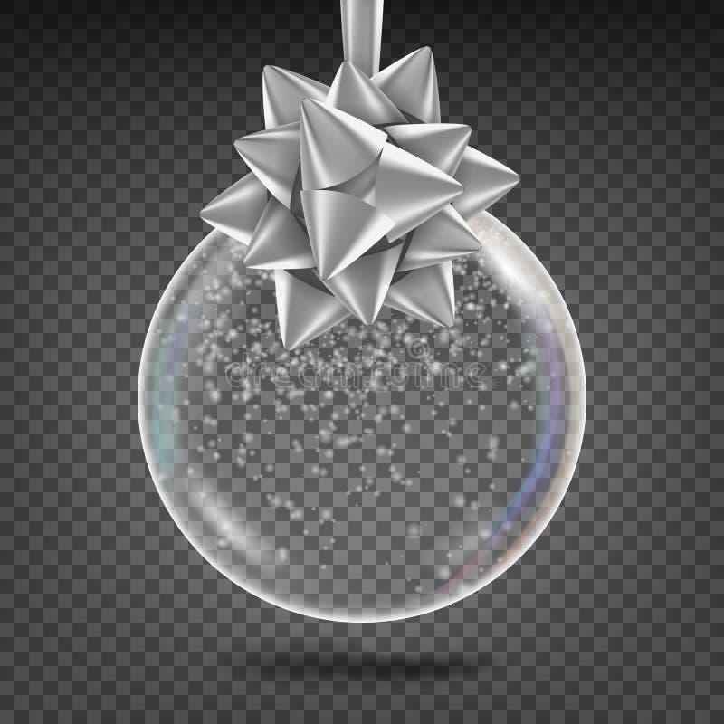 Прозрачный вектор шарика рождества Сияющая игрушка дерева Xmas стекла с смычком снежинки и серебра Украшение праздников Нового Го иллюстрация вектора