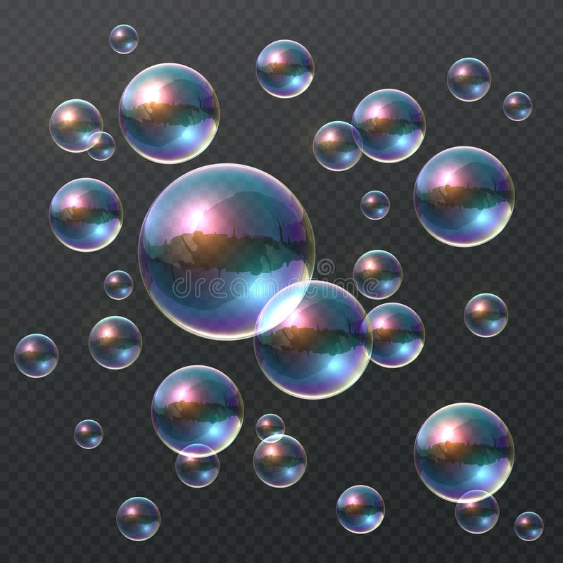 Прозрачный пузырь мыла Реалистические красочные 3D пузыри, шарик шампуня радуги ясный с отражением цвета шаблон ресторана констру бесплатная иллюстрация