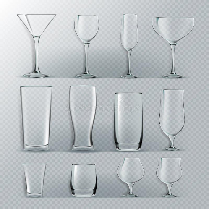 Прозрачный стеклянный установленный вектор Прозрачные пустые кубки стекел для воды, алкоголя, сока, напитка коктейля реалистическ бесплатная иллюстрация