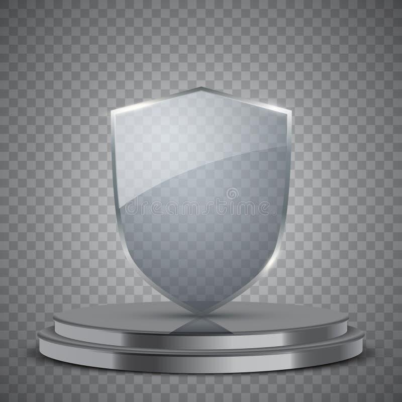 Прозрачный стеклянный экран на подиуме иллюстрация вектора