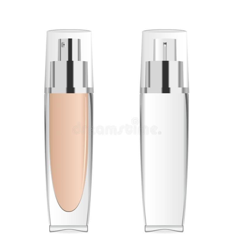 2 прозрачных косметических бутылки вектор бесплатная иллюстрация