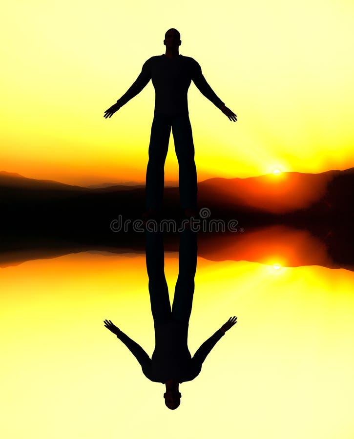 Произведенное компьютером отражение человека на заходе солнца. стоковое фото