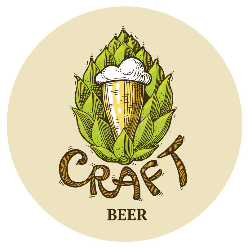 Произведите логотип пива, помечая буквами хмель иллюстрации вектора, дизайн эмблемы иллюстрация штока