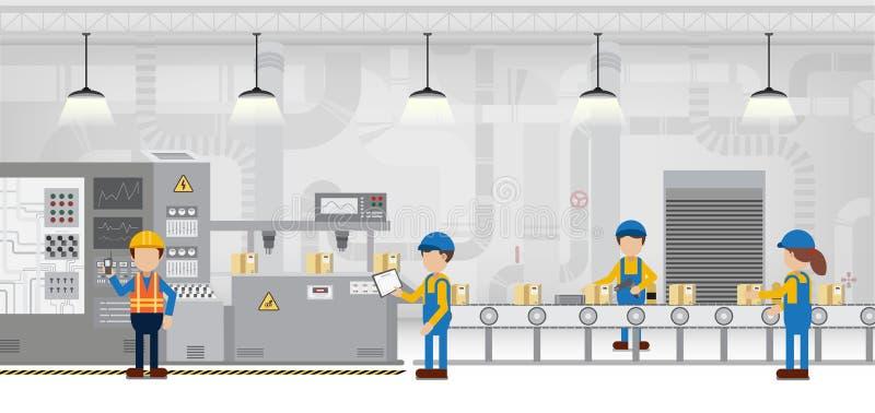 Производственная линия фабрики иллюстрация вектора