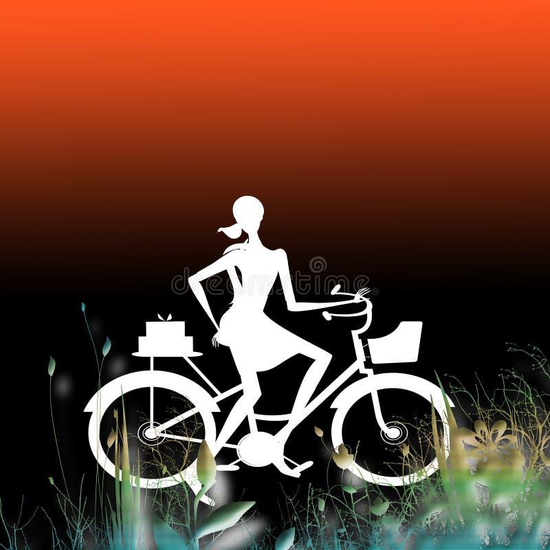 проиллюстрированная женщина велосипедиста стоковая фотография