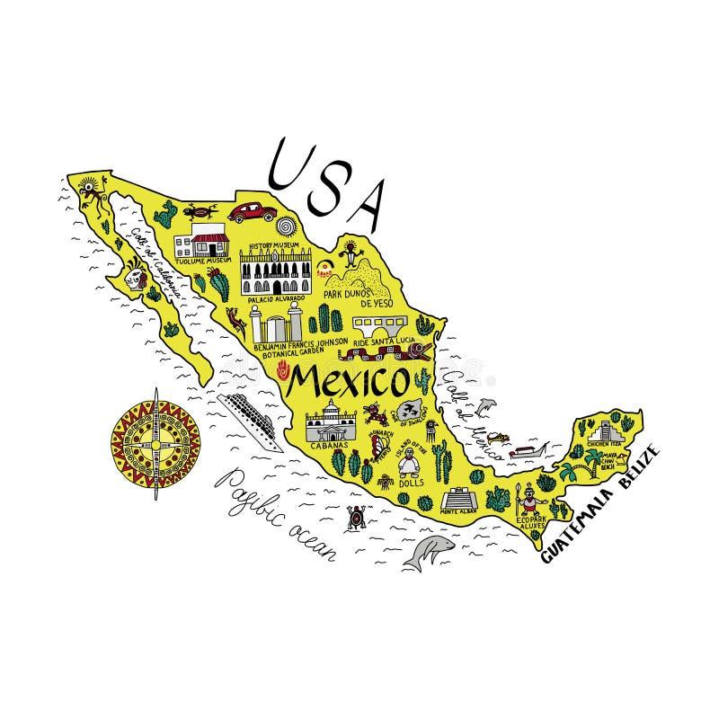 Проиллюстрированная карта Мексики с главными достопримечательностями иллюстрация штока