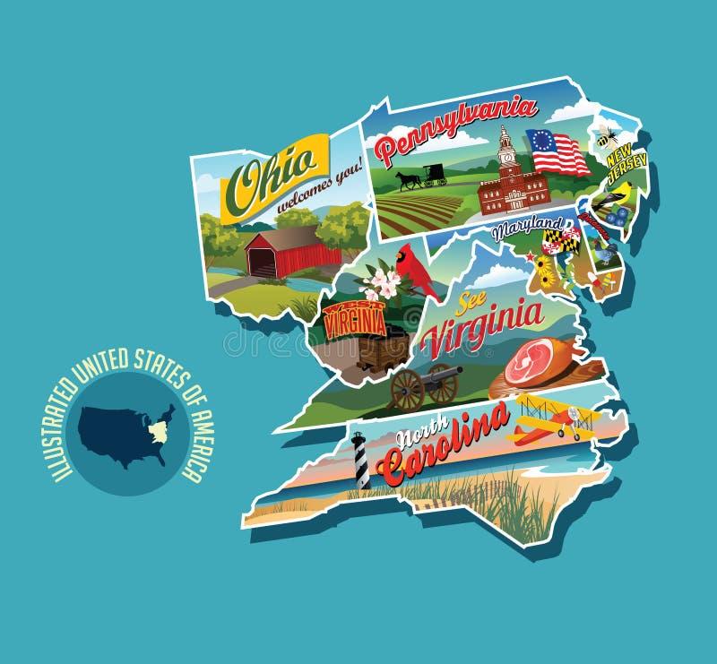 Проиллюстрированная наглядная карта восточных Соединенных Штатов иллюстрация штока