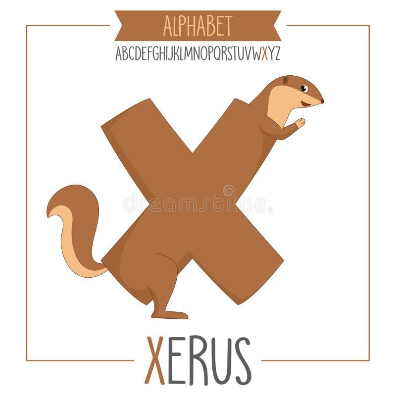 Проиллюстрированное письмо x алфавита и Xerus бесплатная иллюстрация
