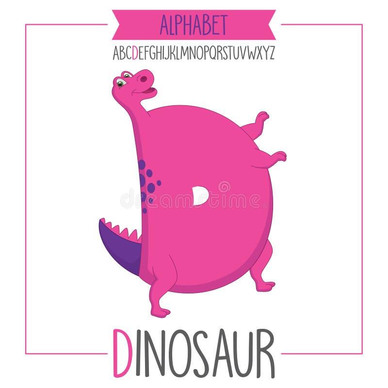 Проиллюстрированное письмо d алфавита и динозавр иллюстрация штока