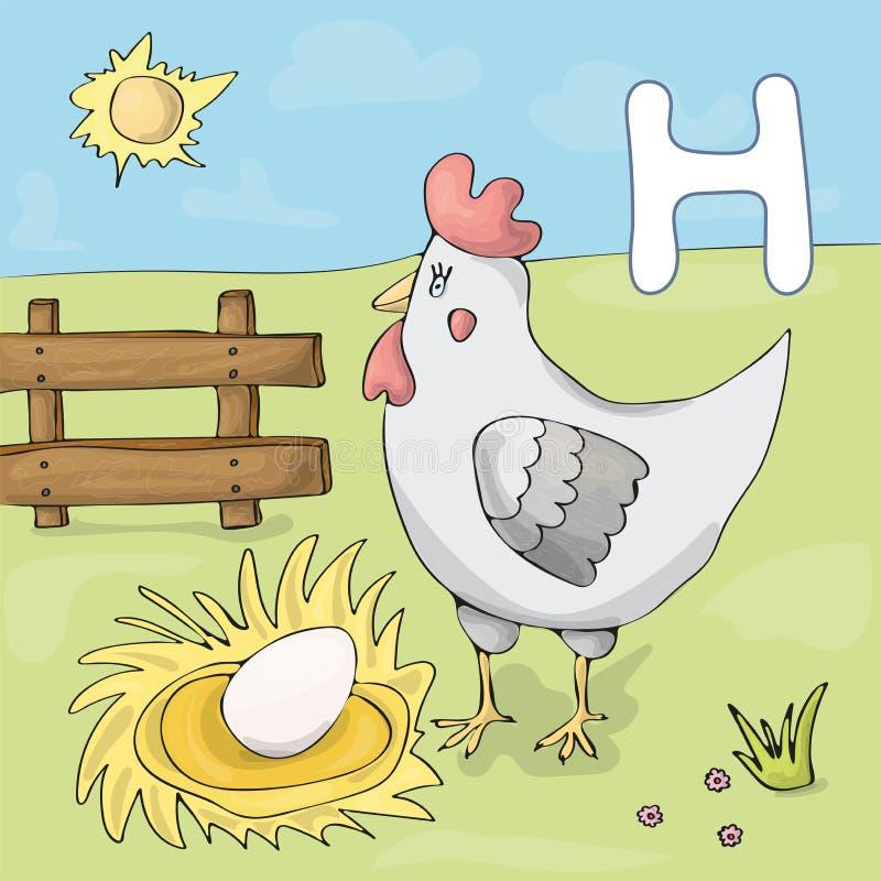 Проиллюстрированное письмо h алфавита и курица Мультфильм вектора изображения книги ABC Курица с яйцом на ферме бесплатная иллюстрация