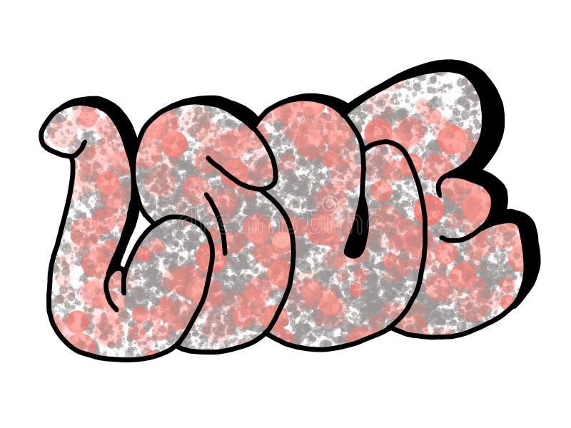 Проиллюстрированное слово ЛЮБОВЬ граффити на белой предпосылке бесплатная иллюстрация