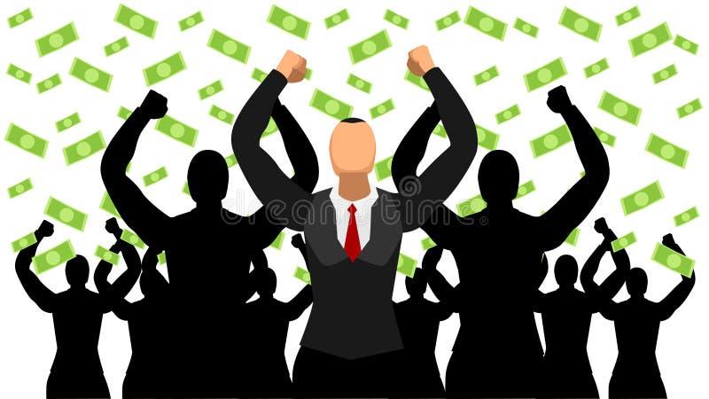 Проиллюстрированные руководители празднуют успех дождя доллара плоский характер иллюстрация штока