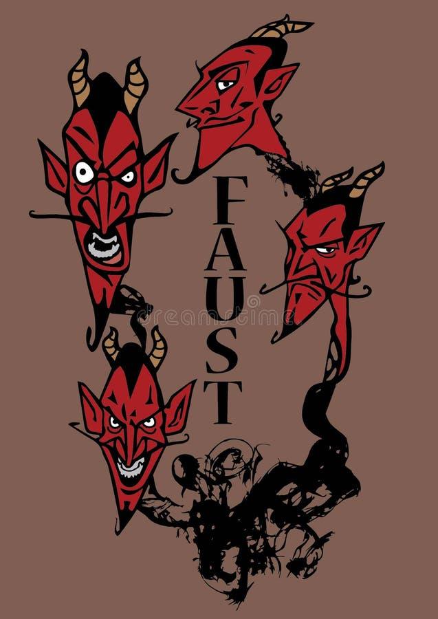Проиллюстрированный плакат для игры faust бесплатная иллюстрация