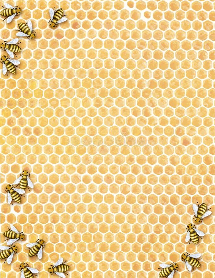 проиллюстрированный сот buzzz пчел стоковое изображение rf