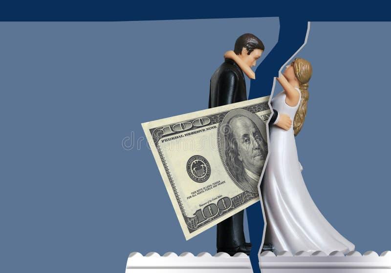 Проиллюстрировать как вопросы денег могут прийти между парами и разводом причины, 100 долларовых банкнот приходит между невестой  иллюстрация штока