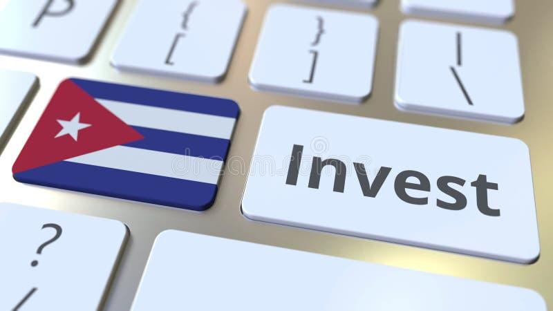 ПРОИНВЕСТИРУЙТЕ текст и флаг Кубы на кнопках на клавиатуре компьютера Дело связало схематический перевод 3D бесплатная иллюстрация