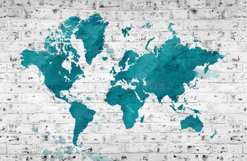 Проиллюстрированная карта мира с белой кирпичной стеной предпосылка всходит на борт горизонтальной текстуры узловатой сосенки иллюстрация вектора