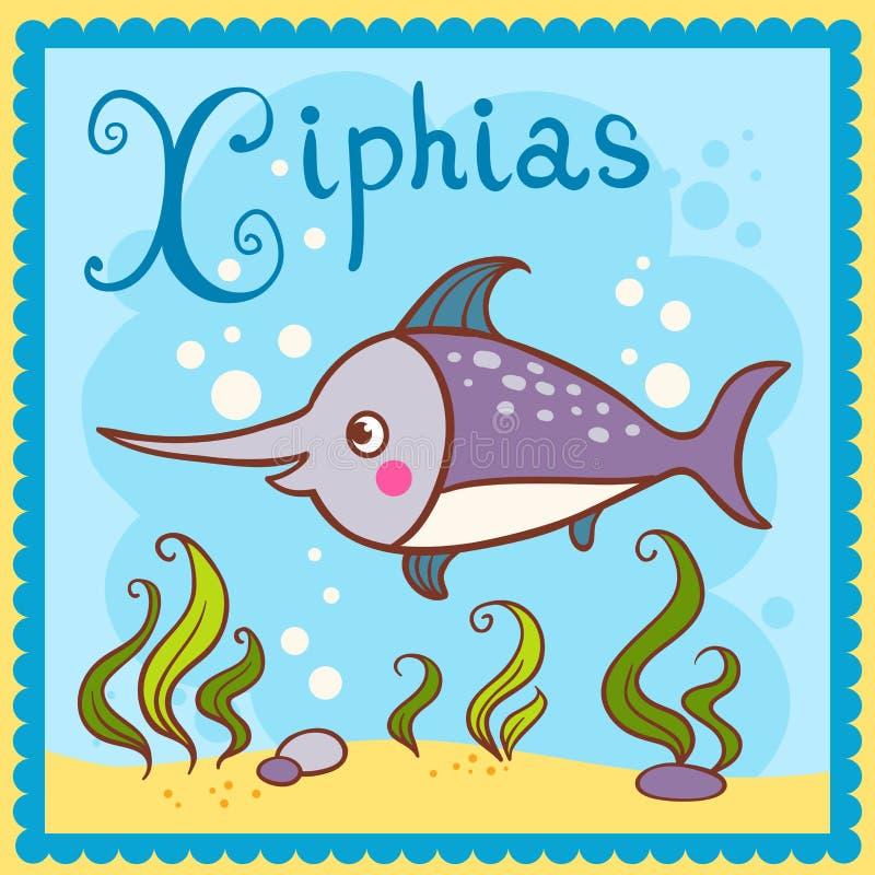 Проиллюстрированное письмо x алфавита и xiphias. иллюстрация штока