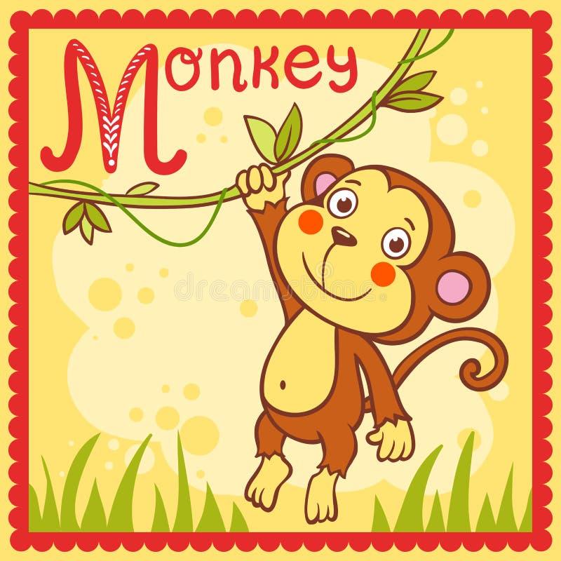 Проиллюстрированное письмо m алфавита и обезьяна. бесплатная иллюстрация
